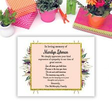 Sympathy Acknowledgement Cards, Funeral Thank You Notes Personalized
