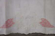EMBROIDERED PEACOCK BIRD LINEN NAPKIN ART DECO ANTIQUE HAND CORAL PINK IVORY