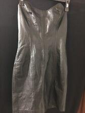 Black Strapless Firenze Leather Dress Size P
