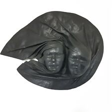 Vintage Leather Hand-Made Face Wall Art Mask Asian Couple Marked I'CH PIEL
