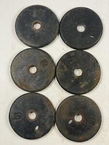 "6 X 5 Lb 1"" Hole Cast Iron Weight Plates Rusted ( 30 Total Lbs )"