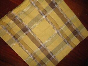 POTTERY BARN GOLD BROWN PLAID LINEN BLEND (1) ZIPPERED PILLOW COVER 20 X 20