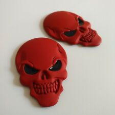 2 X Red Stereoscopic Skull Head Emblem Car Seats Backrest Stickers car body