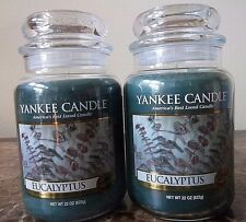 Yankee Candles   Eucalyptus  Lot of 2   22 oz New   Free Shipping