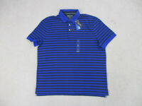 NEW Nautica Polo Shirt Adult 2XL XXL Blue Black Sailing Striped Rugby Casual Men
