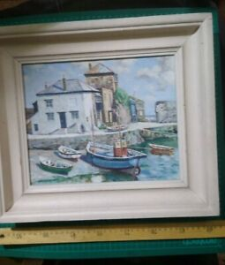 OIL PAINTING ON BOARD W Lambert Bell,  Mevagissey Harbour Cornwall 27x21.5 cm