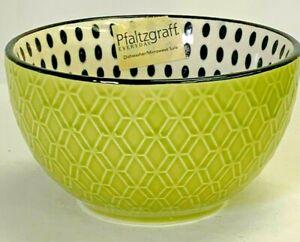 "PFALTZGRAFF EVERYDAY Fruit Bowl NWT 4.5"" Green Embossed w/ Black Dots"