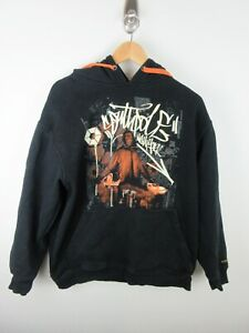SouthPole Mens Jumper Sweater Size L Hoodie Pullover Big Graphics Black Adult