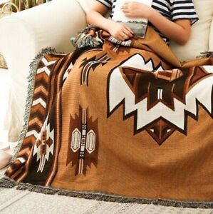 Ethnic Indian Rug Aztec Cotton Throw Picnic Camping Blanket Vanlife Road Trip L