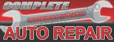 3'x8' COMPLETE AUTO REPAIR BANNER LARGE Sign Foreign Domestic Car Fix Shop RED