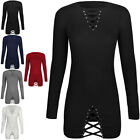 Womens Ladies Winter Knit Jumper Dress Corset Long Sleeve Stud Embellished Size