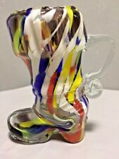 Vintage Murano Art Glass Boot Multicolor Mundgeblasen echt handarbeit