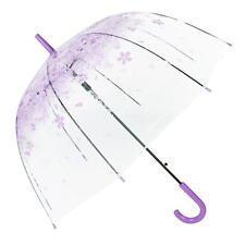 Beautiful Cherry Blossom Transparent Umbrella Clear Dome Bubble Umbrella Purple