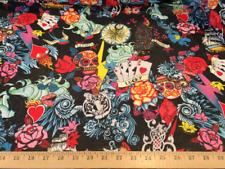 "Black Tatoo Hippie 100% Polyester Chiffon Fabric 58""W Sold By The Yard"