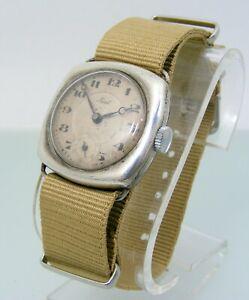 Vintage Big Fiat Advertising Watch amazing cushion Solid silver case wire lugs