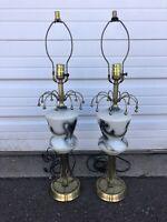 Pair Of Vintage Mid Century Modern Table Lamps Atomic Black White Gold MCM Retro