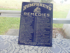 VTG Humphreys Remedies Porcelain Enamel Advertising Sign Ande Rooney USA Made