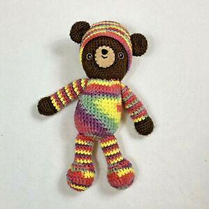 Handmade Crochet Striped Brown Teddy Bear Stuffed Animal Toy Knit Cap Rainbow