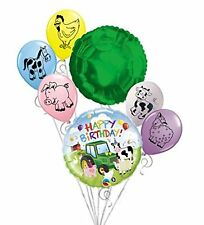 Farm Barnyard Cow Tractor Pig 7 Piece Party Bouquet Decoration Balloons Set