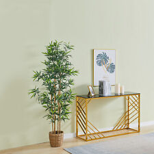 Console Table Set of 1 Foyer Table Tempered Glass with Gold Stainless Steel Sofa