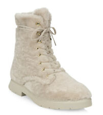 $695 Stuart WEITZMAN McKenzee Chill Women Shearling & Leather Combat Boots Sz 7M