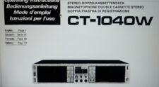 manuale utente doppia piastra a cassette CT-1040W hifi pioneer carta formato a4