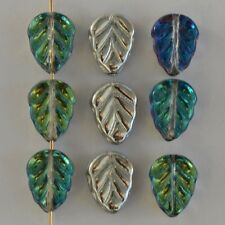 Leaf V 10 mm Silver Crystal Capri Blue Silver 00030-29636-27001 Czech Bead x 25