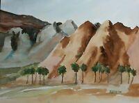 """Coachella Valley Palms"" Original Watercolor Painting RAMfish Artist Mountains"