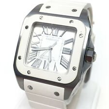 Pre-owned Cartier Santos Unisex Stainless Steel White Rubber 33mm Watch (13321)