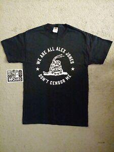 NEW! Alex Jones Don't Censor Me! InfoWars Men's Small T-shirt and STICKERS