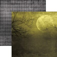 Scrapbooking Crafts 12X12 Paper Ds Halloween All Hallows Moon Bat Flying Trees