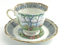 Vintage Royal Albert Silver Birch Bone China Footed Tea Cup Saucer England J557