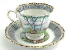 Vintage Royal Albert Silver Birch Bone China Footed Tea Cup Saucer England J557