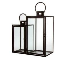 SET OF 2 RETRO VINTAG METAL LANTERN BLACK GLASS HANGING CANDLE HOLDER HOME DECOR