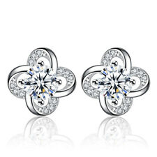 Tiny Earrings Four-leaf clover Silver Glitter Stainless Studs Beach Jewelry
