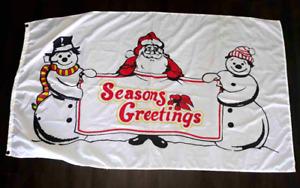 Christmas Flag Santa & Snowman Nylon White 3x5 Seasons Greetings Poly Flag