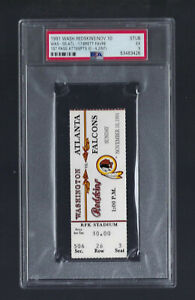 1991 NFL FALCONS @ REDSKINS TICKET STUB  BRETT FAVRE DEBUT & FIRST PASS - PSA