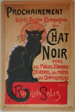 CHAT NOIR - FRENCH VINTAGE ADVERT Black Cat Embossed Metal Sign