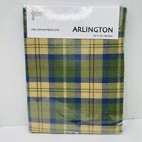 Arlington Cotton Cloth Vintage Style Green Plaid Oblong Tablecloth