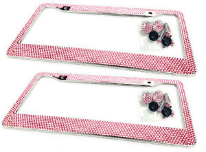 2 x Pink Bling Diamond Crystal Glitter Metal License Plate Frame For Nissan