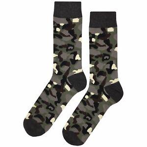 NWT Dark Camouflage Dress Socks Novelty Men 8-12 Multicolor Fun Sockfly