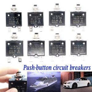 5-30AMP Push Button Manual Reset Thermal Circuit Breaker 50V DC, 250V AC