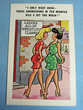 A PEDRO Risque Comic Postcard 1960s LADIES ALL IN WRESTLING Blonde Boobs Theme