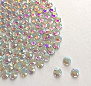 Diamante Me Rhinestones Crystal AB Flat Back Loose Gems in size 2,3,4,5,6,7mm