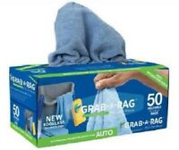 Grab-A-Rag Reusable Detail Microfiber Rags 50 Count Shop Cleaning Grease BLUE