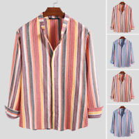 Vintage Men's Striped Printed Long Sleeve Linen Shirt Causal Smart Blouse Tops