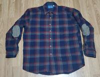 Mens Vintage PENDLETON Red Blue Plaid 100% Wool Flannel Shirt Large