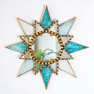 "Turquoise Round sunburst Mirror 17.7"", Peruvian Accent golden Wall Mirror decor"