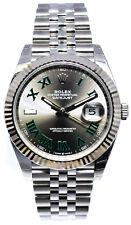 NEW Rolex Datejust 41 Steel & 18k WG Wimbledon Dial Watch & Box 126334