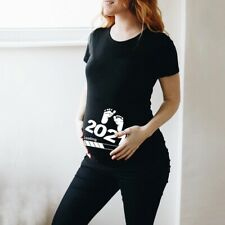 Maternity T-Shirt Top Pregnancy Clothing Wear Baby Loading Printed Short Sleeve